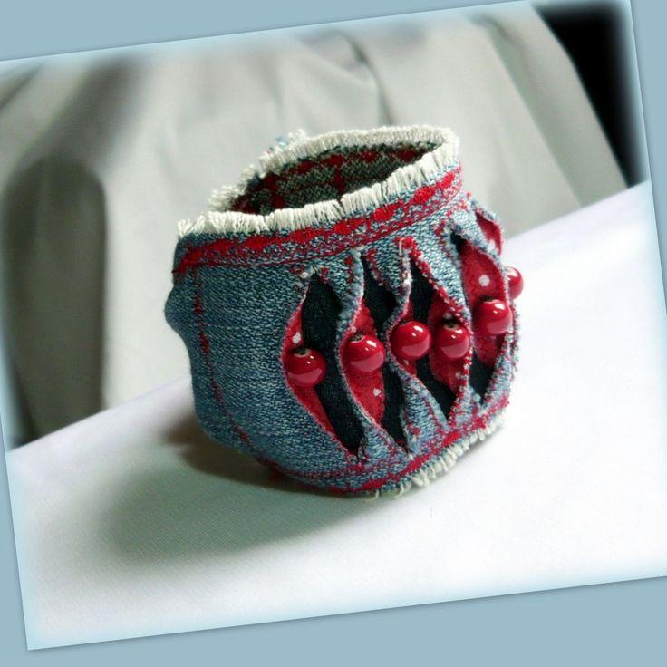 Handmade by Judy Majoros - Denim Cuff, Fabric Bracelet, Beaded Recycled bracelet