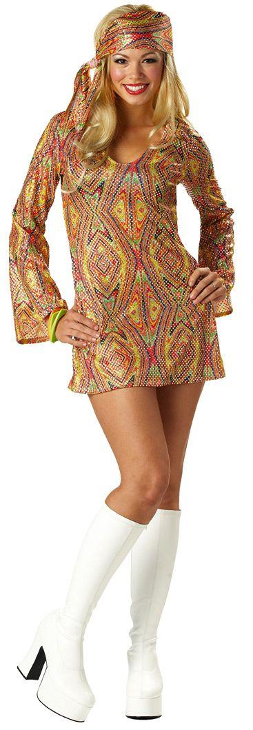 Silver 70s disco dress style