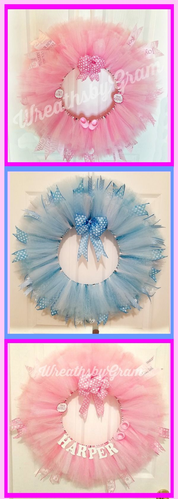 Baby shower wreath in varying shades of pink/white and blue/white. Name can be added. Baby shower ideas; baby shower decorations; baby shower gifts; baby shower pink and gold; baby shower princess; baby shower boy; baby shower girl; baby shower themes; baby shower coed; boho; shabby chic