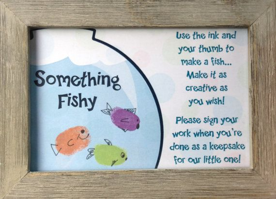 fish baby shower thumbprint guest book with digital file
