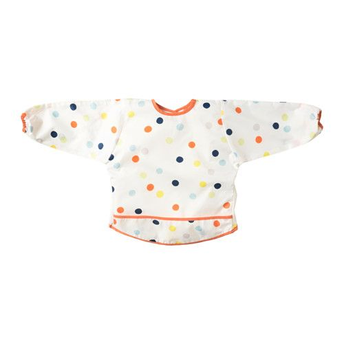 IKEA - KLADDIG, Bib, , A soft bib that your child can wear comfortably for many years, thanks to the adjustable neck, practical hook-and-loop fastening and long sleeves with elastic.The front pocket catches all spills and is easy to clean, either with a quick rinse or by washing it in the machine.Just as handy for meals as for playing or painting.