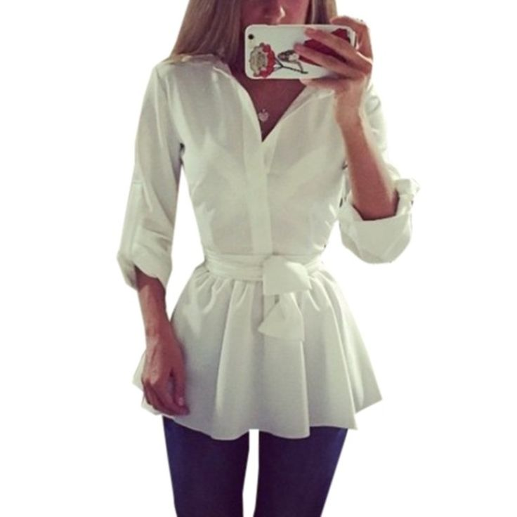 Cheap blouses work, Buy Quality shirt hollister directly from China blouse back Suppliers: Plus Size S-3XL Spring Autumn Blusas Women Long Sleeve Lapel Belted Blouse Dress Female Casual Solid Slim Tunic Long Top Shirts
