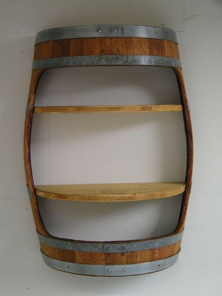 Barrique Weinfass Wandregal mit zwei Zwischenböden TOP Qualität Fass verleimt