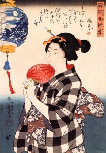 Woman with fan - Utagawa Kuniyoshi