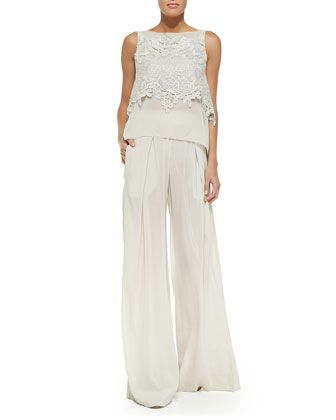 Donna Karan Sleeveless Macrame Bateau-Neck Top & Easy Pleated Full-Leg Pants