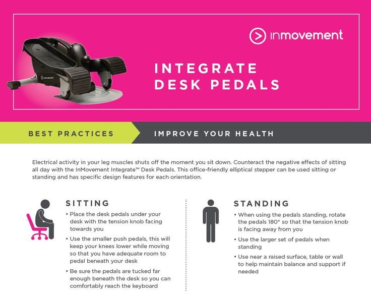Integrate Desk Pedals. Use them sitting or standing to