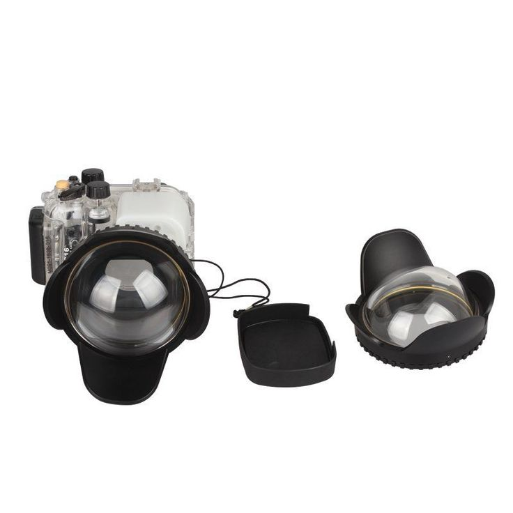 40M Meikon Underwater Diving Camera Waterproof Housing Case Fr Canon G16+fisheye #MEIKON