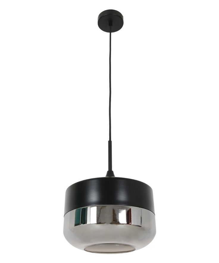 Beacon Lighting - Lunar 1 light bowl pendant in black with smoke glass