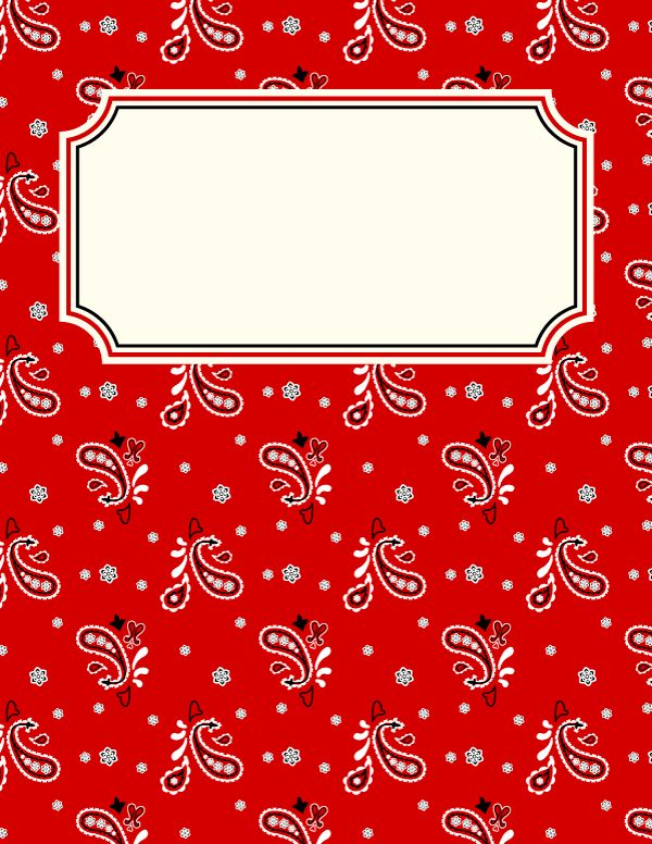 Free printable red bandana binder cover template. Download the cover in JPG or PDF format at http://bindercovers.net/download/red-bandana-binder-cover/