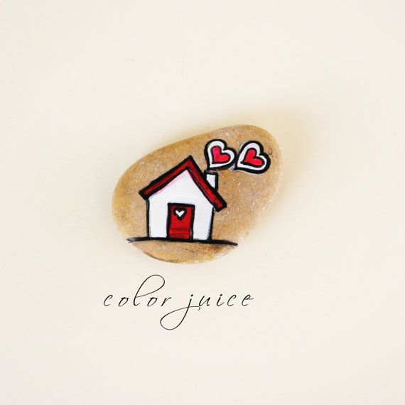 Home Sweet Home Painted Stone Badge via Etsy