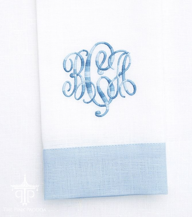 Blue and White Monogrammed Linen Guest Towel