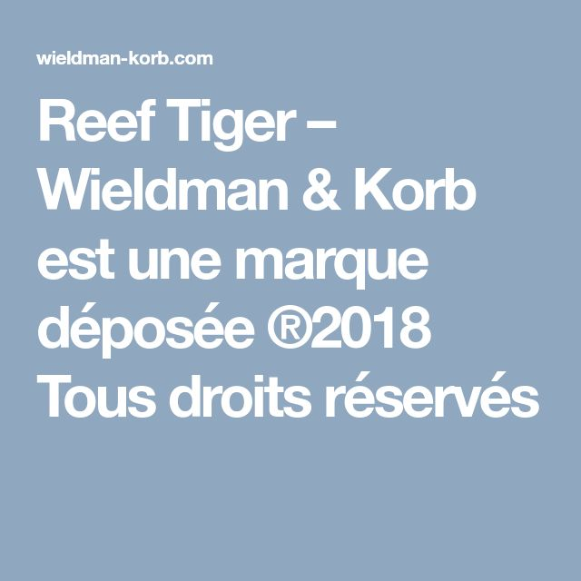 Reef Tiger – Wieldman & Korb est une marque déposée ®2018 Tous droits réservés