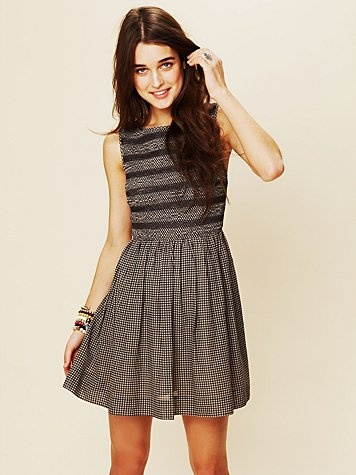 Lace Inset Fit and Flare Dress