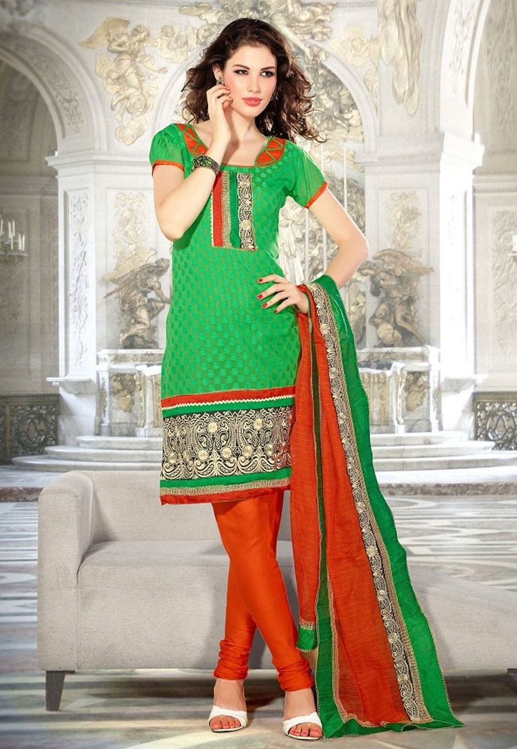 """Cry. Forgive. Learn. Move on. Let your tears water the seeds of your future #happiness."" Green #Color Cotton Designer #Salwaar Kameez"