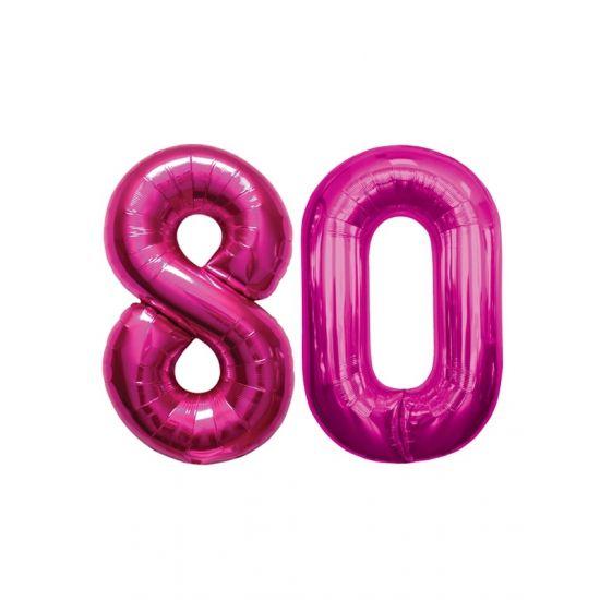 Verjaardag ballonnen 80 jaar roze  80 jaar folie ballonnen roze. Dit product bestaat uit twee cijfer ballonnen die tezamen het cijfer 80 vormen. Formaat van beide roze ballonnen: ongeveer 86 cm. Let op u kunt de ballonen heel gemakkelijk met een ballonpomp opblazen. U kunt de ballonen ook zelf vullen met helium welke bij ons in tankjes verkrijgbaar zijn. De ballon wordt dus zonder helium geleverd. Met een helium tank van 30 ballonnen kunt u circa 4 cijfer ballonnen vullen en met een helium…