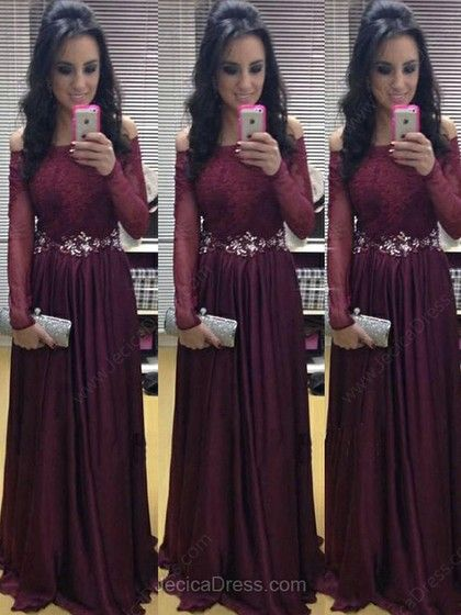 Lace Chiffon A-line Off-the-shoulder Floor-length Lace Prom Dresses -€144.19
