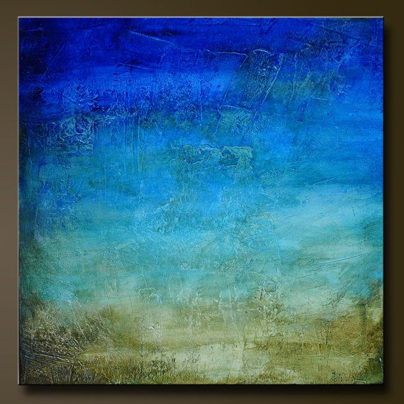 Pacific Blue - 18 x 18 - Abstract Acrylic Painting on Canvas- Contemporary Wall Art