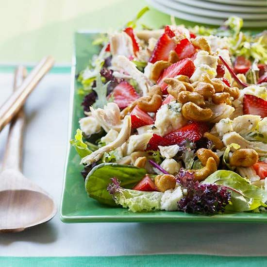 spring greens. roasted chicken. cashews. strawberries. blue cheese. lemon & olive oil. mmmm, salad.