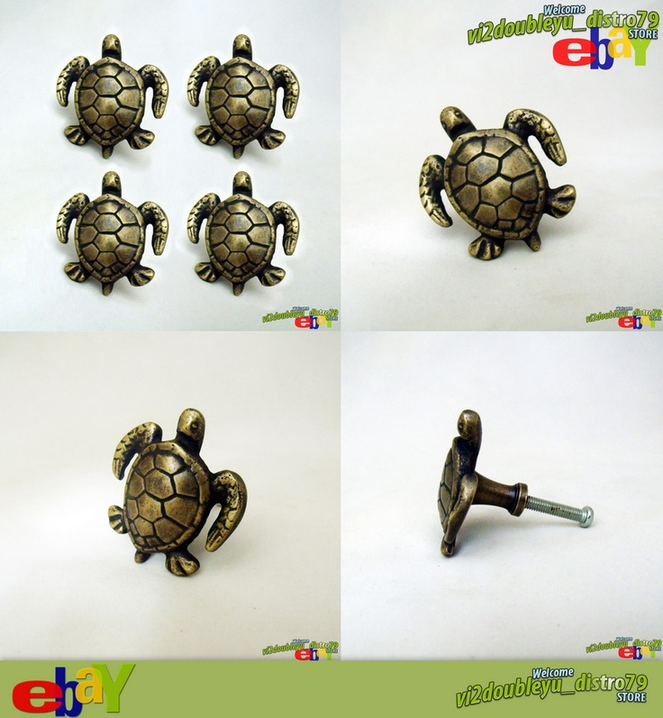 SOLID BRASS ANTIQUE TURTLE Cabinet Door Brass KNOB Drawer Pull. Lovely, Unused and GREAT GIFT for your Cabinet or home decor. #flyer #Knob #Drawer #Brass #Antique #Vintage #Home_decor