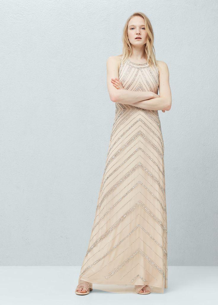 Tulen jurk met kralen - Jurken voor Dames | MANGO België