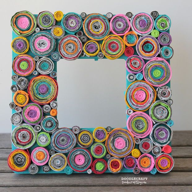 rolled paper green design upcycled magazine picture wood frame astrobrights paper family activity kids craft way too much time tedidous (2)....