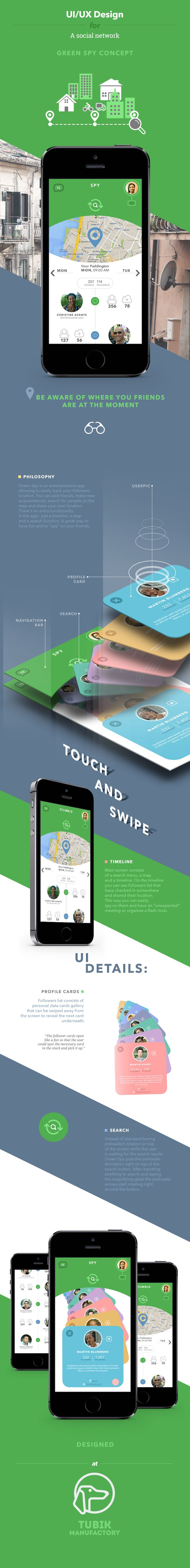 Unique App Design, Green Spy #App #Design (http://www.pinterest.com/aldenchong/)