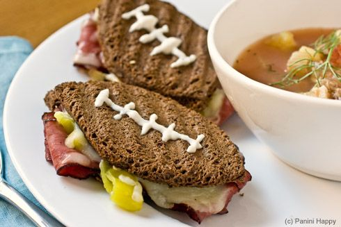 Go Sandwiches!Football Sandwiches, Cheddar Football, Age Cheddar, Food, Big Games, Pastrami, Super Bowls, Football Paninis, Muffins Recipe