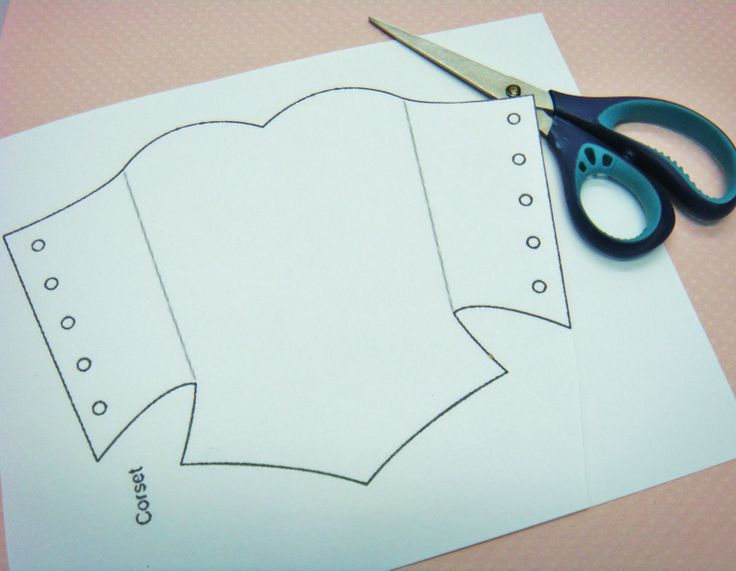 corset tag pattern..... Basic design to almost all the princess dresses.... scraps of pretty paper or fabric + glue + this pattern = hours of almost free entertainment!!