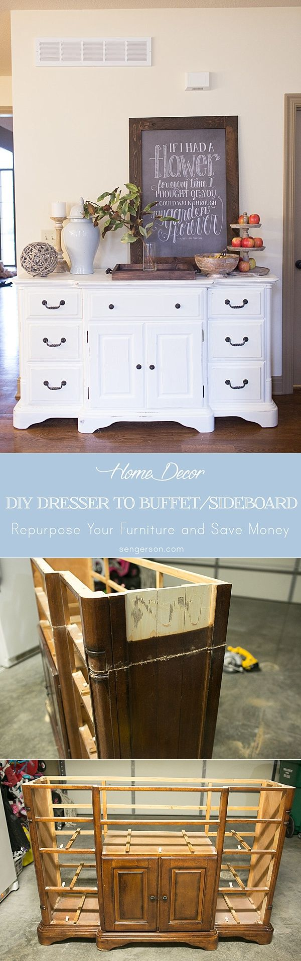 Transformation of a dresser to buffet (dresser to sideboard) using a jigsaw and chalk paint! This blogger made her dresser a little shorter to fit her space. The spring decor is absolutely adorable - www.sengerson.com.