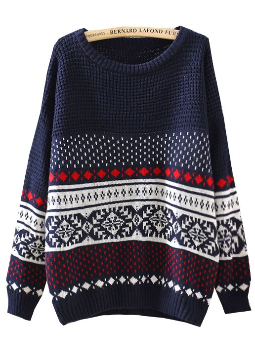 Navy Long Sleeve Diamond Patterned Loose Sweater