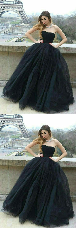 Stylish Prom Dress,Black Prom Dresses,Ball Gown Prom Dresses,Strapless Prom Gown,Black Evening Dress M1030