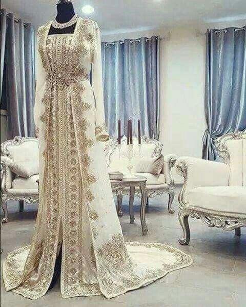 Magnificent Caftan - Gold and White Kaftan - Kaftan for a Bride - Wedding Kaftan