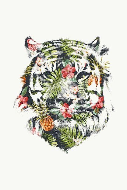 Nous aimons beaucoup l'œuvre Tropical Tiger de Robert Farkas. Dans cette œuvre, Farkas a superposé une tête de tigre avec un décor tropical composé de fleurs et de fruits. Le tigre représentant la puissance, la force et le danger est combiné avec son opposé, la douceur, les saveurs et les couleurs. Farkas nous transporte dans un pays lointain mais nous laisse imaginer lequel. Ce tigre me rappelle ce film, l'Odyssée de Pi : un jeune homme indien tente d'apprivoiser un tigre féroce ce que r...