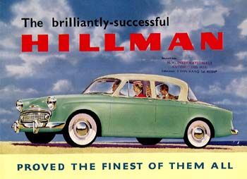 My dad owned a 1957 Hillman Minx.  I remember when he purchased it from Roots Motor in NYC.  Later I remember him trading it in for a turquoise Mercury Comet.  After he traded it he bought it back wholesale so that we had two cars.  The Hillman was dads experiment in alliterative fuel as he modifided the car with duel fuel using propane and gasoline.    In later years dad cut that car down to build a motorized wheelbarrow to work around the yard.  I learned to drive using that car.