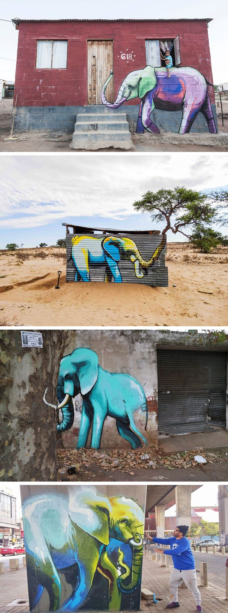 Site-Specific Elephant Murals on the Streets of South Africa by Falko One