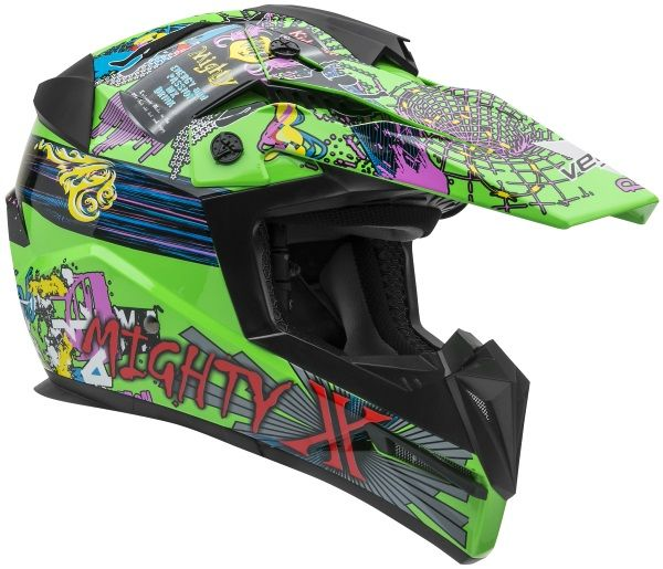 Casque de motocross pour juniors Mighty X -  Price:129.99  Casque de motocross pour juniors Mighty X. DOT + ECE Poids du casque : 1050 g  Junior sized dirt bike helmet • Lightweight, strong and durable polycarbonate ABS shell • Multi-flow venting system designed to keep rider cool • Multi-position, removable and vented visor • Removable, washable, replaceable max-flow wick-dri liner system • Fully vented EPS lined chinbar • […]  Cet article Casque de motocross pour juniors Mighty X est…