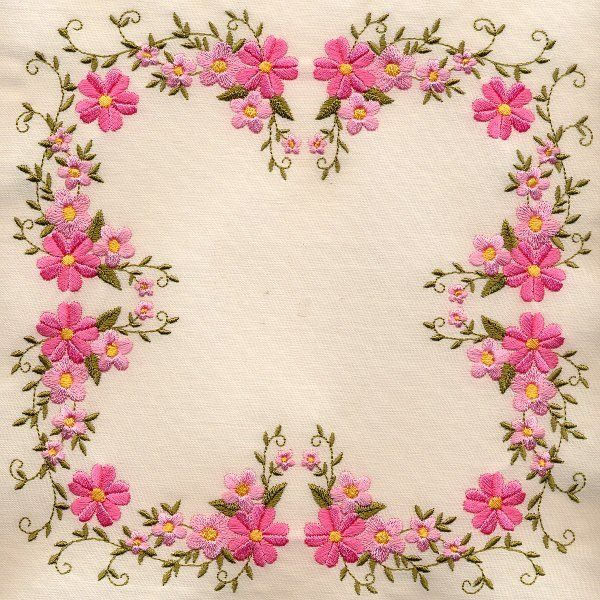 Floral embroidery quilt square