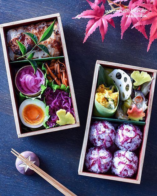 Beautiful lilac colored bento box, featuring chrysanthemum onigiri (rice balls), sweet vinegar purple onions, hard boiled egg, kabocha salad, sweet & sour lotus root pickles, carrots & hijiki, and spicy oyster mushrooms.