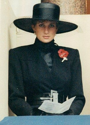 Diana, Princess of Wales on Rememberance Sunday wearing her poppies with the Welsh Guards brooch in November 1991.