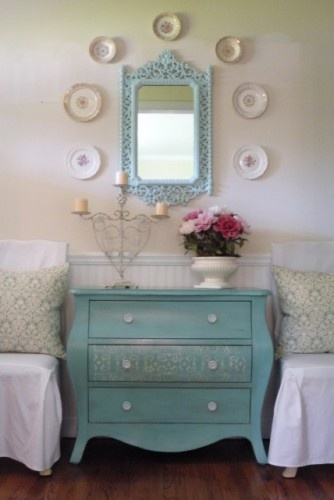 cute: Mirror, Decor Ideas, Living Rooms, Tiffany Blue, Colors, Paintings Dressers, Fleas Marketing, Guest Rooms, Chest Of Drawers