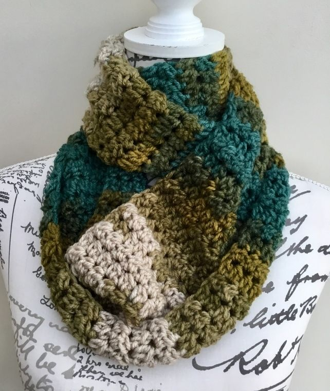 eb85bd0ab05 Favori Batik Autumn Multi Toned Chunky Crocheted Infinity Scarf or Neck  Cosy. £14.00