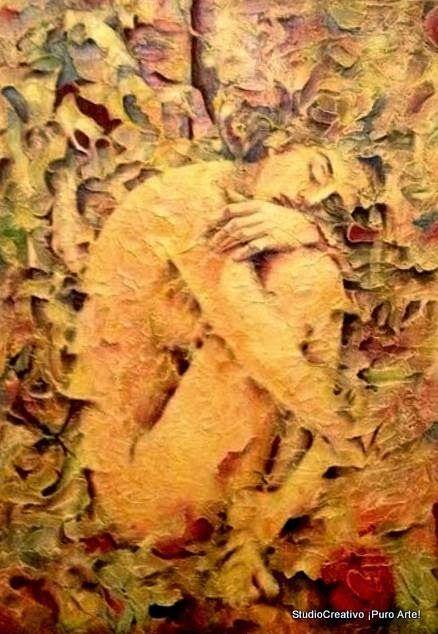 DESPIERTA EVA...LA MANZANA TE ESPERA Técnica: Mixta con espátula sobre madera Dimensión: 100 x 70 cm Año: 2015
