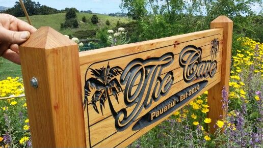 Macrocarpa carved wooden sign by http://woodensigns.co.nz