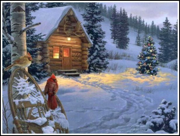 Christmas Cabin Snow Scenes   What a peaceful scene! I imagine a warm fire blazing in the fireplace ...