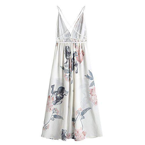 84acf860ef3b4 YTJH Vestito da Donna Vintage Maxi Lunga Dress Spalline Italiane Senza  Maniche Elegante Abito da Sera