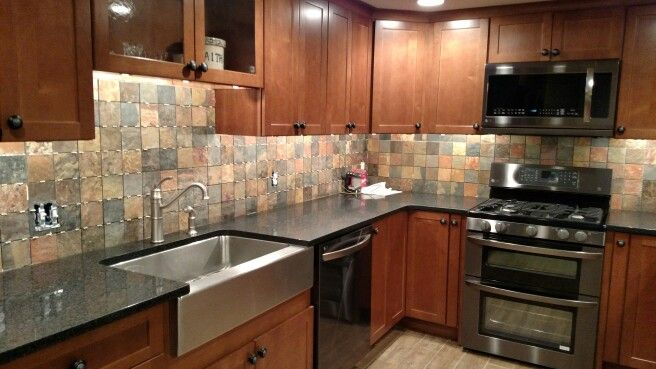 apron front sink, quartz countertop, LG Black diamond appliances ...