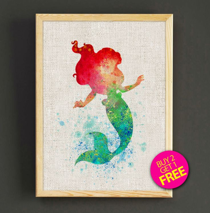 Mermaid Gifts Mermaid Decor Mermaid Art Print Mother S: Little Mermaid Ariel Watercolor Art Print Disney Princess