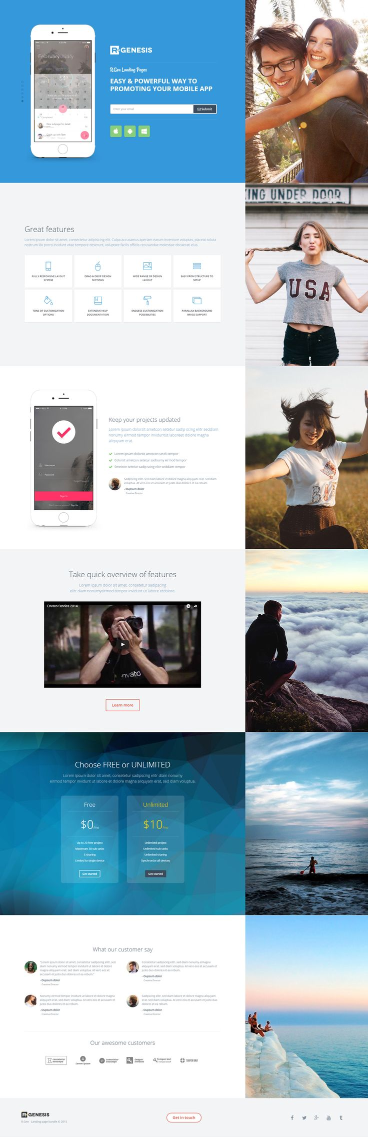 App landing page with parallax effect  background images