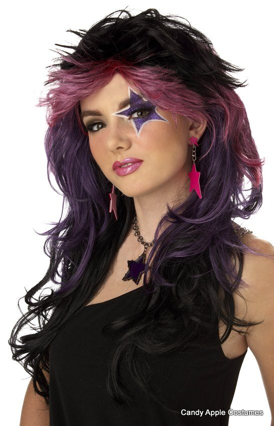 wigs...80's Truly Outrageous Black/Purple Wig - Candy Apple Costumes - Mardi Gras Costumes