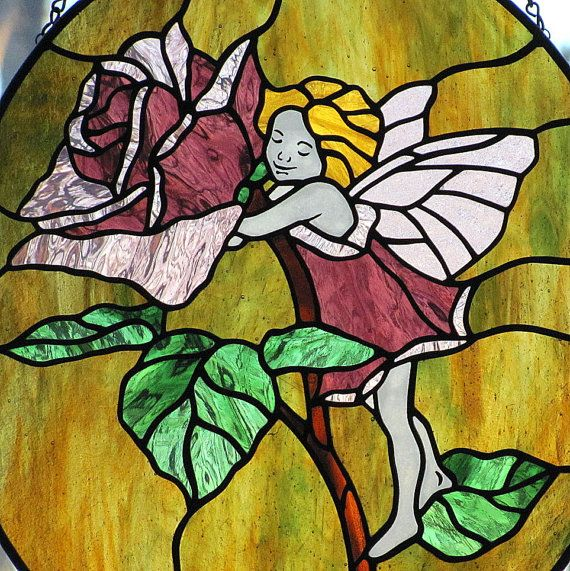 Stained Glass fairies | Stained Glass Rose Fairy Oval Suncatcher Panel